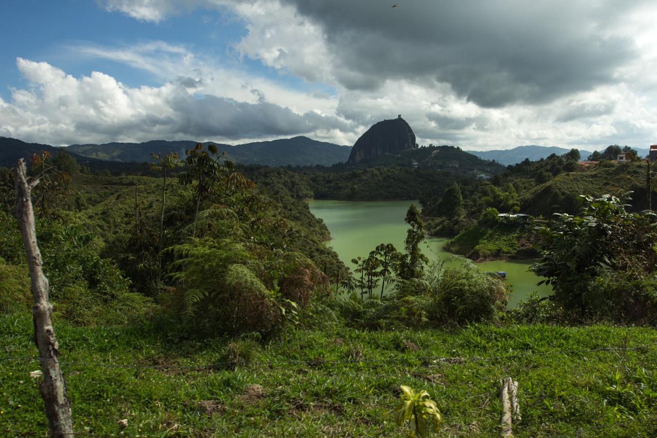 Lakes of Guatapé with El Peñol monolith in the distance, department of Antioquia, Colombia.