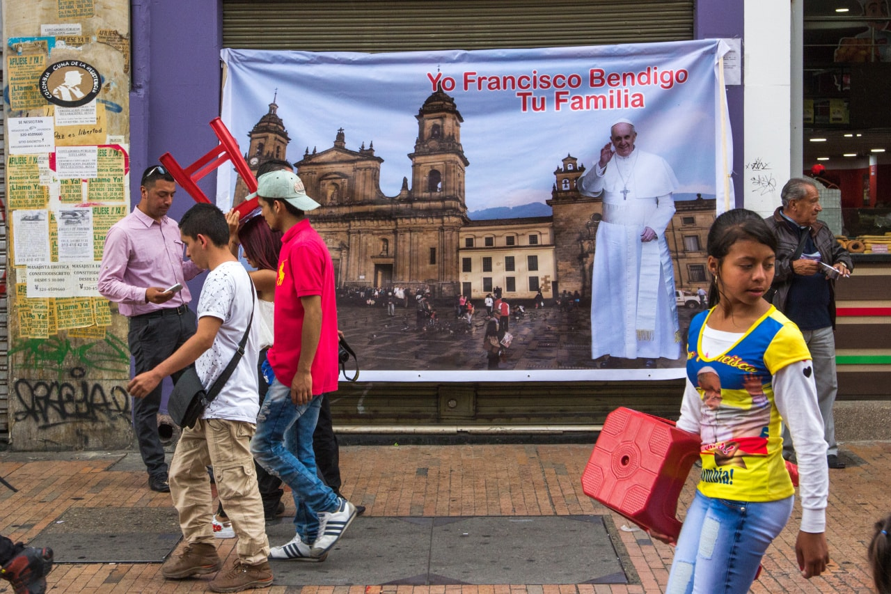Street decorations for the visit of Pope Francis to Colombia, in Bogotá's central district'.