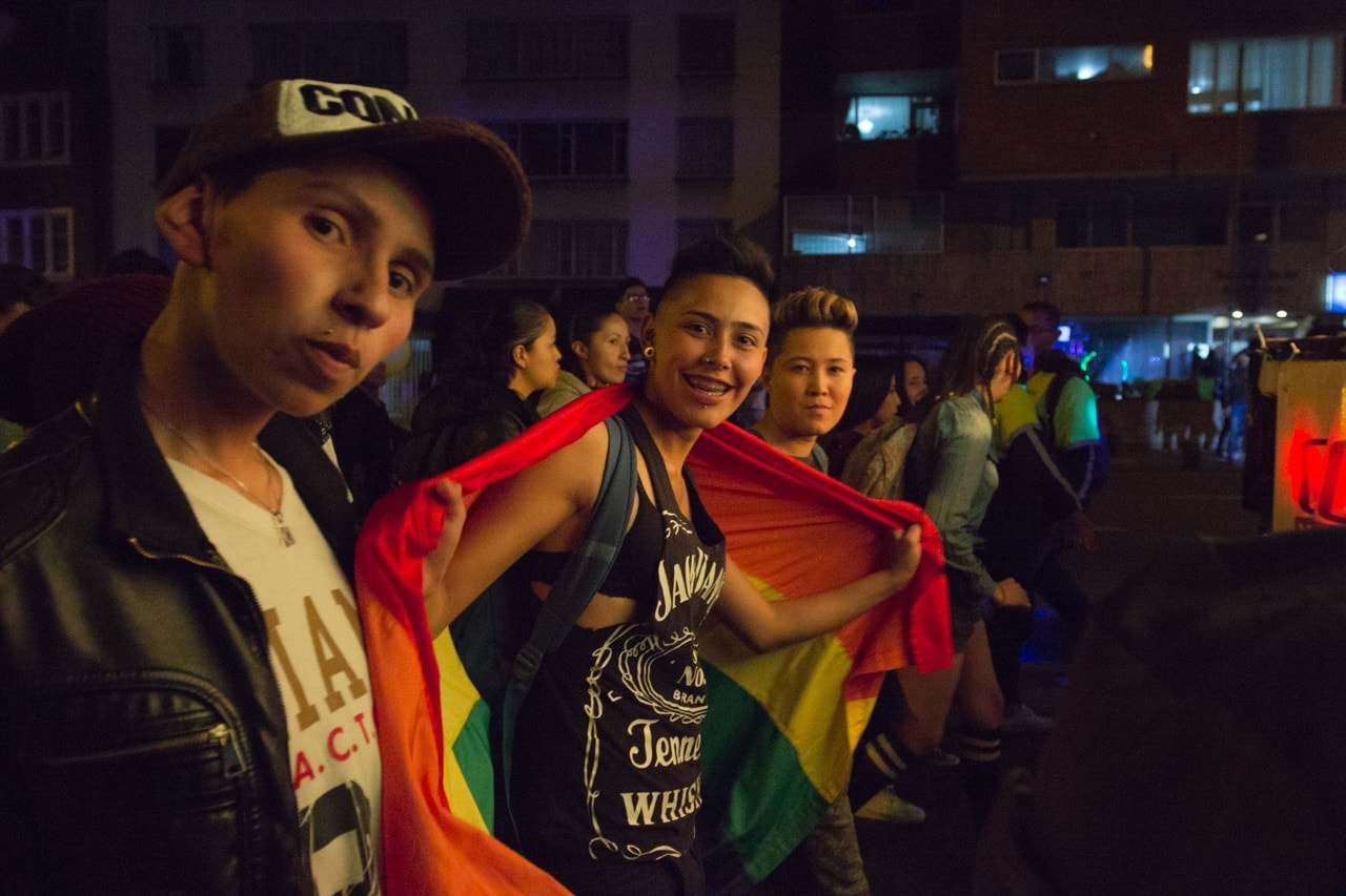 Celebrations at the Night of Colours LGBT march and concert in Bogotá.