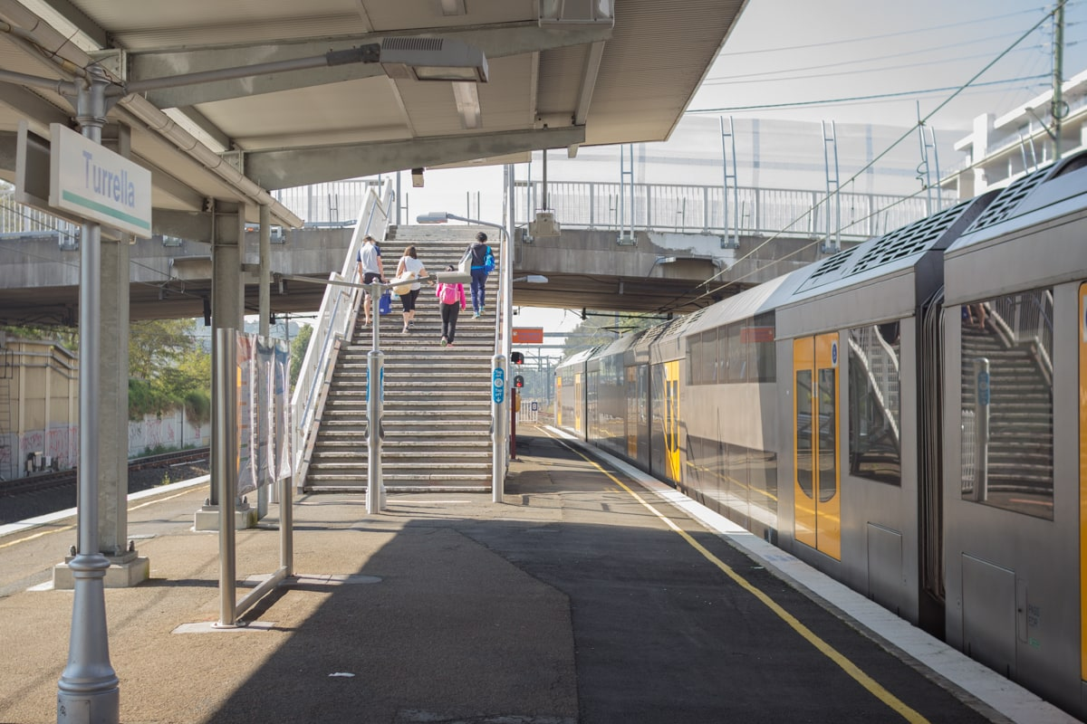 The westbound platform at Turrella Station, south-west Sydney, Australia.