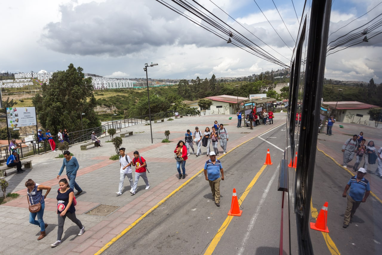 School children and residents in the southern outskirts of Quito.