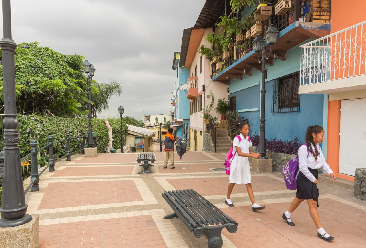 Girls head to school in the historical district of Las Peñas, Guayaquil.