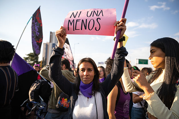 In photos: Women march in Bogotá, calling for an end to femicide on International Womens Day